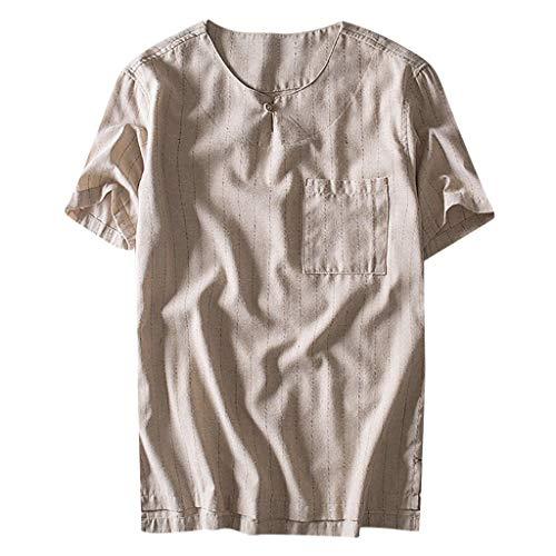 YKARITIANNA Fashion Men's Cotton Linen Pocket Stripe Short Sleeve Retro T Shirts Tops Blouse 2019 Summer Hot Sale (Top Tropic Lycra)