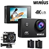 WIMIUS Q1 Action Camera 4K Wifi Ultra HD 16MP Waterproof Sports Camera 2.0 170°Wide Angle with Waterproof Case,2pcs Batteries and Full Accessories Kits