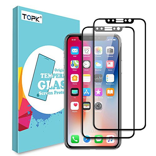TOPK iPhone X Screen Protector (2 Pack) Tempered Glass with Full Coverage Anti-Scratch HD Clear Screen Protector Film for iPhone X(Black)
