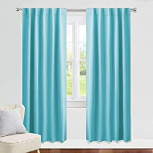 PONY DANCE Window Treatments Drapes - 42 W x 72 L, Blue Mist Blackout Curtains Home Decoration Back Tab/Rod Pocket Room Darkening Curtain Panels Privacy Protect for Living Room, 1 Pair