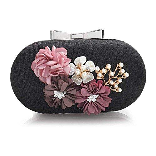Wedding Rising Wallet Day Leather Purse Shoulder Black Party Women ON Floral Bag Clutch Bag Clutch Woman Bags Evening PqvPHrwU