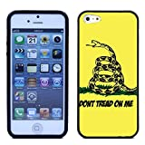 RCGrafix Premium LEATHER BACK Direct UV Vibrant Print Apple iPhone 5 & Apple iPhone 5S Case - Gadsden dont tread on me flag UNIQUE Designer Leather Back TPU Case For Apple iPhone 5 & Apple iPhone 5S - Great Case Protection - Fits All Carriers