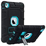 iPad Mini Case,iPad Mini 2 Case,iPad Mini 3 Case,iPad mini Retina Case,ULAK Three Layer Heavy Duty Shockproof Protective Case for iPad Mini,iPad Mini 2,iPad Mini 3 with Kickstand (Aqua Blue/Black)