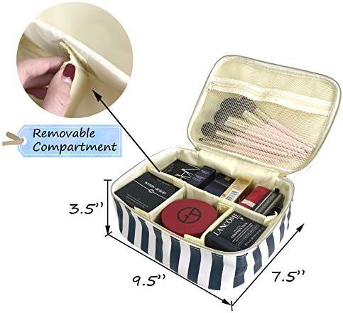 Hibala Makeup Bag Portable Travel Cosmetic Bag Waterproof Organizer Multifunction Case with Zipper Toiletry Bags Handbags for Women (Stripe 3P)