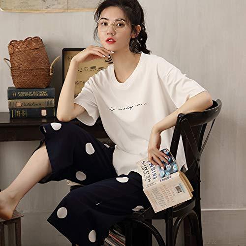Conjunto De Recortados Pantalones Verano Cortos A Algodón Baujuxing Flojo Xl Servicio Camisa Manga Corta Domicilio 100 M Pijamas 8IxqBnP
