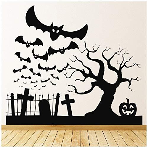 Celeste decal banytree Halloween Graveyard Bats Pumpkin Wall Sticker -
