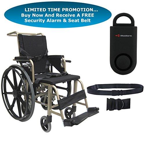 Karman KMAA20 Aluminum Transport Wheelchair, Quick Release Rear Wheels 14' W X 16' D Seat, Adjustable Footplates & Free 130 dB Black Personal Safety Alarm/Siren! + Black Belt!