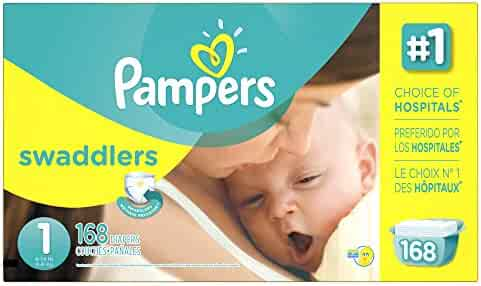 Pampers Swaddlers Disposable Diapers Newborn Size 1 (8-14 lb), 168 Count, ECONOMY