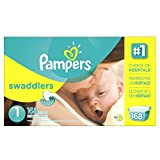 Baby : Pampers Size 1 Swaddlers Newborn Diapers, 168 Count