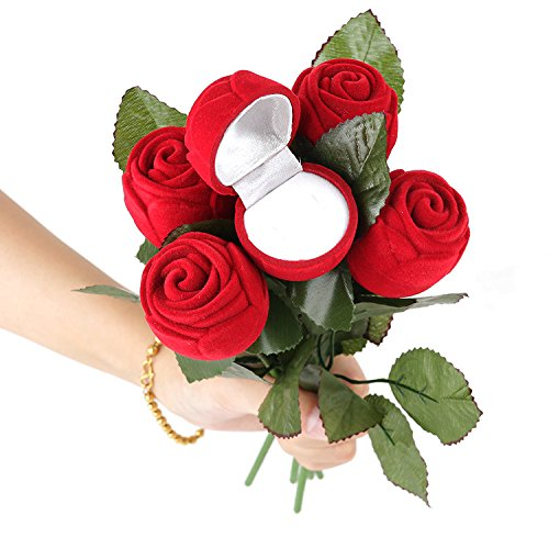 Qi Tian/® 2 pcs rose ring Jewelry Packaging Display Boxes Simulation rose shape wedding anniversary gifts box for girlfriend wife Romantic marriage the proposal