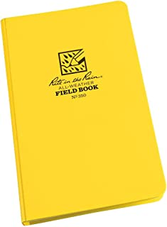 """product image for Rite in the Rain Weatherproof Hard Cover Notebook, 4 3/4"""" x 7 1/2"""", Yellow Cover, Field Pattern (No. 350)"""