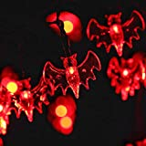 [2017 New Improved] HAYATA Bat String Lights 20 LED 7.2ft Battery Operated Halloween String Lights for Indoor, Holiday, Party, Festival, Halloween Decorations (Red)