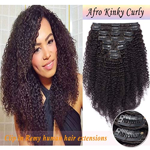 Kinky Curly Clip in Human Hair Extensions for Black Women Afro Kinky Curly Remy Human Hair Extensions for African American Lady Double Weft Full Head #Natural Black 22Inch 8PCS/18Clips/Set