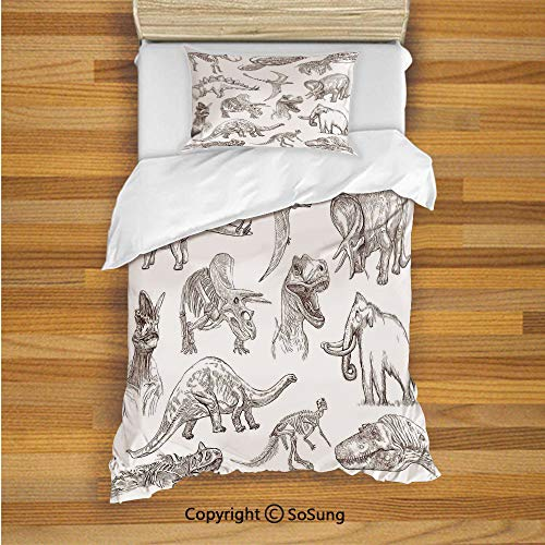 SoSung Jurassic Kids Duvet Cover Set Twin Size, Collection of Various Dinosaurs Illustrations Gigantic Skeleton Biology Historic 2 Piece Bedding Set with 1 Pillow Sham,Gold White