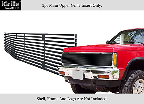 APS Compatible with 1991-1994 Chevy Blazer 91-93 Chevy S-10 Phantom Main Upper Stainless Steel Black 8x6 Horizontal Billet Grille Insert C85232J