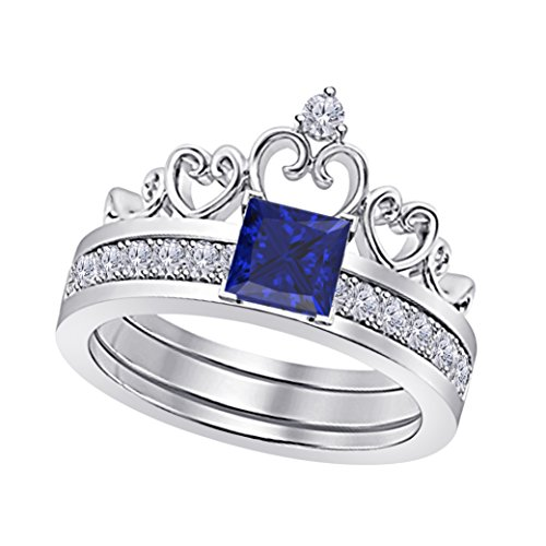 4 Prong Round Gem (14k White Gold Plated Alloy Princess Cut 6MM Created Blue Sapphire & White Cubic Zirconia Round Interchangeable Crown Engagement & Wedding Ring Set Women's Jewelry Size 4.5-12)