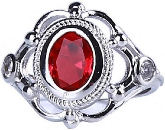 Pinhan Artifical Anillo de Compromiso de Estilo Antiguo de rubí Macizo con Gema Tallada para Aniversario de Boda, Aleación, Rojo, 6#