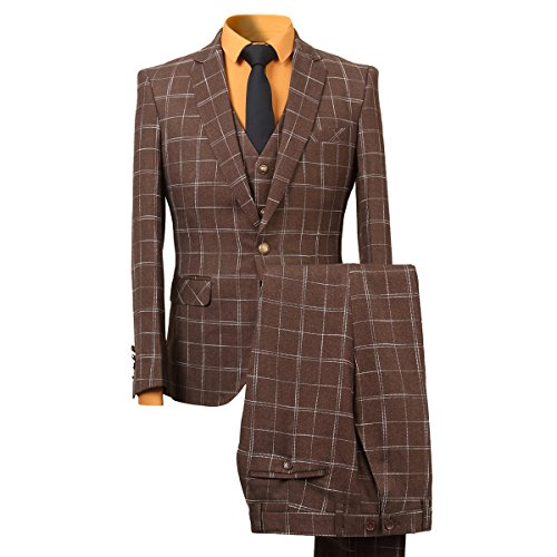Men's Plaid Tweed 3 Piece Suit Slim Fit One Button Dinner Suit (Brown Pinstripe Pants)