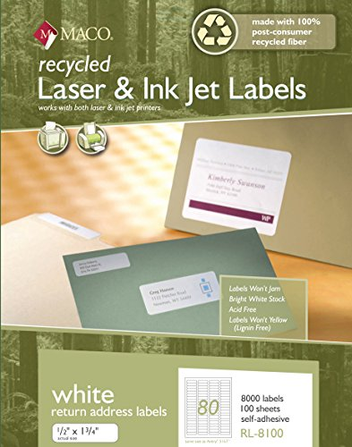 MACO Recycled Laser/Ink Jet White Return Address Labels, 1/2 x 1-3/4 Inches, 80 Per Sheet, 8000 Per Box (RL-8100)