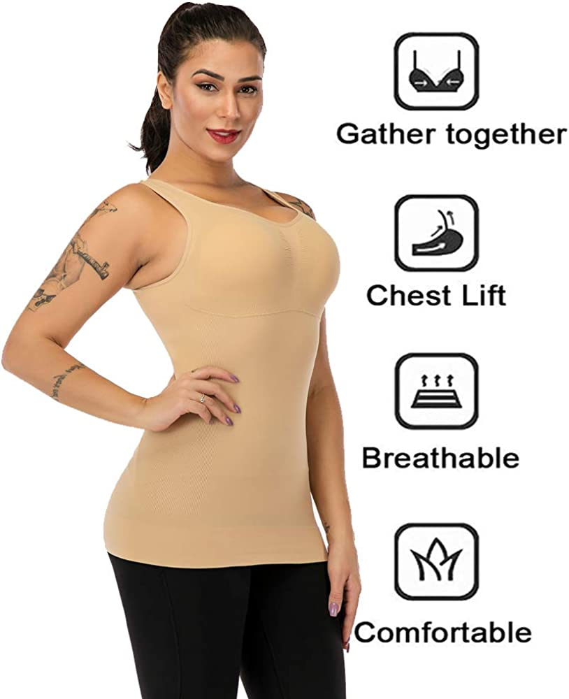 Womens Tank Tops Wide Strap Camisole with Built in Padded Bra Vest Sleeveless Top Shirt for Yoga Daily Wearing