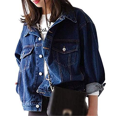 Otoño Boyfriend Moda Manga Chaqueta Azul Joven Vaquera Cazadoras Abrigos Azul Vaquera Tendencia College Casual Mujer Elegante Coat Relaxed Outerwear Chaqueta Niña Largo x4qpIgn