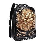 Egoelife PU Leather 3D Skull Backpack Multipurpose Hiking Daypack School Laptop Bag (Gold)