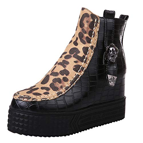 Todaies Ladies High Heel Boot Leopard Zipper Wedges Shoes Buckle-Strap Ankle Boot Black