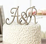 Gold Monogram Wedding Cake Topper Initials - Set of 3 Letters