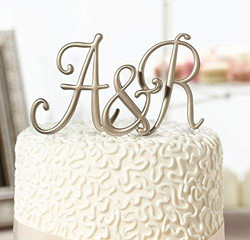 - Gold Monogram Wedding Cake Topper Initials - Set of 3 Letters
