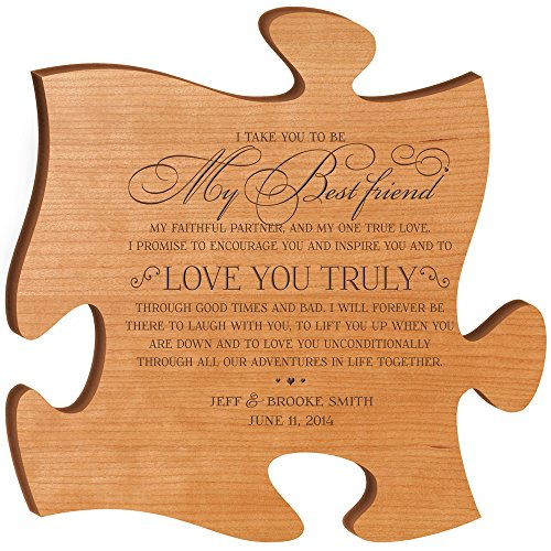 LifeSong Milestones Personalised Wedding Gifts for Bride and Groom I take you to be my best Friend to Love you truly Best Friend Wall Decor Made in USA Wall Art Exclusively from 12x12 (Cherry)]()
