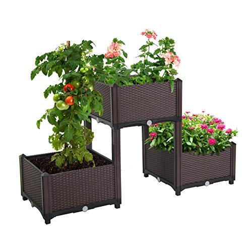 D'vine Dev Planter Raised Beds - Elevated Planter Garden Box for Vegetable/Flower/Herb Outdoor Standing Planter Beds (For Raised Garden Boxes Patios)