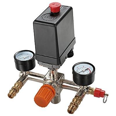 Secbolt Pressure Switch Manifold Regulator Gauges Air Compressor Pressure Switch Control Valve 90-120PSI