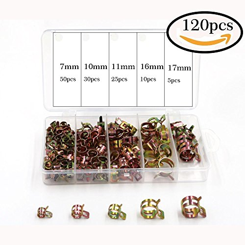 Ohaha 120pcs 7mm, 10mm, 11mm, 16mm, 17mm Spring Clips Fuel Hose Line Water Pipe Air Tube Clamps Fasteners -