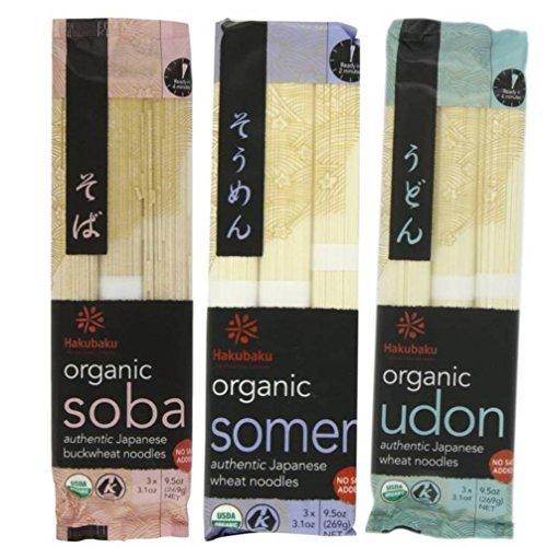 Hakubaku Organic Japanese Noodle 3 Flavor Variety Bundle: (1) Hakubaku Organic Soba, (1) Hakubaku Organic Somen, and (1) Hakubaku Organic Udon, 9.5 Oz. Ea. (3 Packs (Japanese Wheat Noodles)
