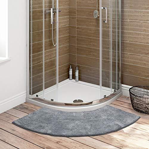 Seavish Luxury Grey Shag Curved Bath Rug, 18 x 57 inch Non Slip Microfiber Soft Absorbent Fanned Shower Mats Washable Bathroom Rug Corner Bath Tub Floor Carpet for Quadrant Shower Stall