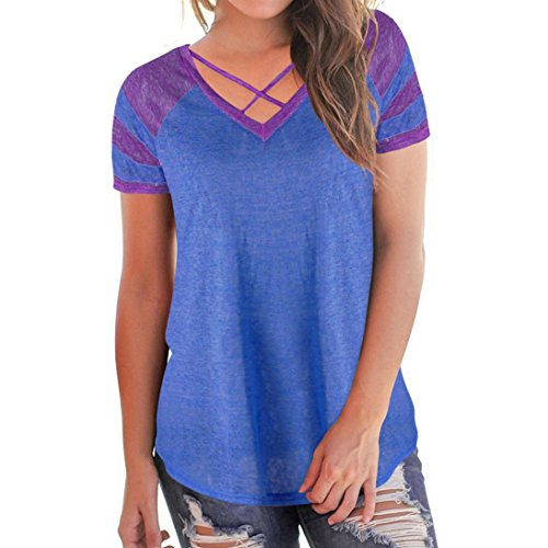 Quistal Women's Short Sleeve T-Shirt Tees Criss Cross Front V-Neck Patchwork Casual Blouse Tops Blue