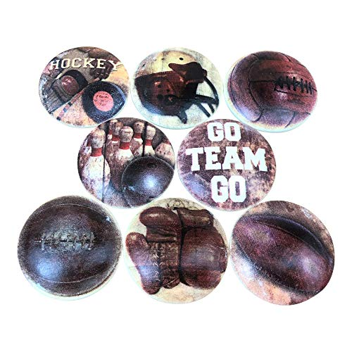 Set of 8 Vintage Go Team Go Wood Cabinet Knobs