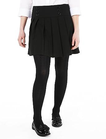 0c0d9f7f8 Marks and Spencer Girls Black School Skirt Stormwear Stretch Permanent  Pleat M&S