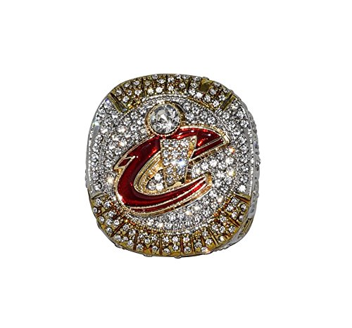 CLEVELAND CAVALIERS (Lebron James) 2016 NBA FINALS WORLD CHAMPIONS (King James) Rare & Collectible High Quality Replica Silver NBA Basketball Championship Ring with Cherrywood Display Box