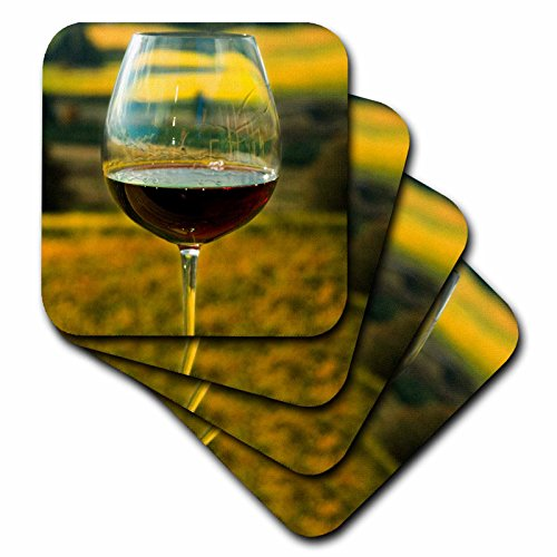 3dRose CST_93801_1 Wine Glass, Willamette Valley Vineyards, Oregon-US38 JMI0817-Janis Miglavs-Soft Coasters, Set of 4