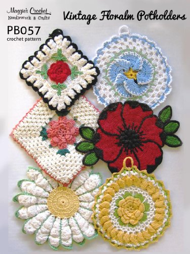 Crochet Pattern Vintage Floral Potholders PB057-R