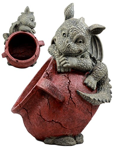 Ebros Gift Naughty Climbing Dragon Baby Planter Pot Mythical Fantasy Home Patio Garden Decor Resin Statue 13″ H For Sale