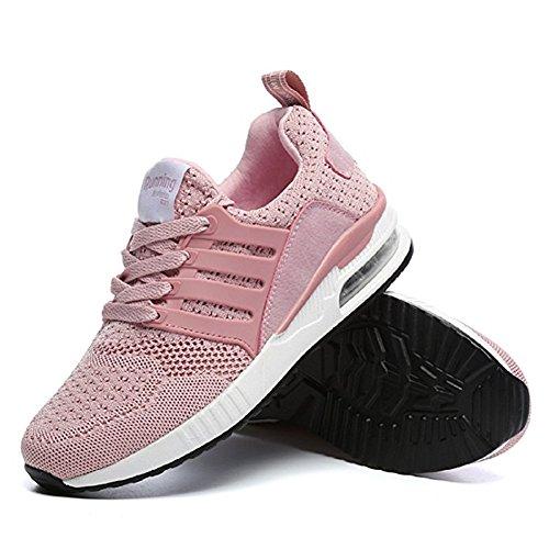 Laufschuhe Damen WANPUL Rosa Air Fitness Bequeme Herren Leichte Mesh Sneakers Profilsohle Sportschuhe Turnschuhe Atmungsaktiv rqIxIfE