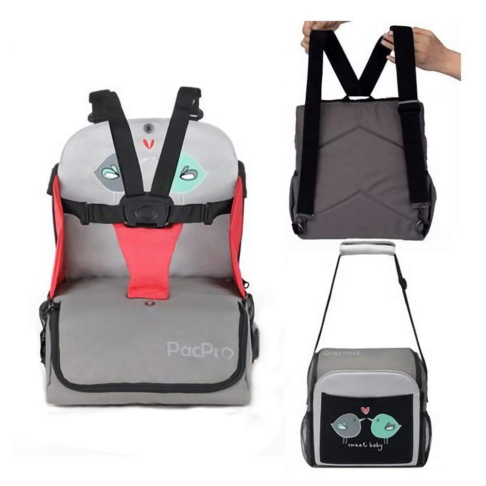 Multifunctional Baby Dining Chair Bag, Foldable Portable Backpack, 5-Point Seat Belt and Storage Bag Travel Bag (pcs1) -11.4×11.8×14.9 Inch (RED)