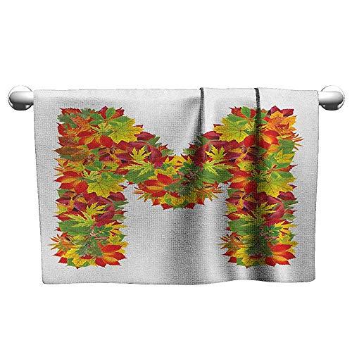 xixiBO Soft Towel W20 x L20 Letter M,Fall Season Elements Uppercase M Colored Leaves Acorns Autumn Nature, Vermilion Yellow Green Shower Towel Facial - Paper Towel Iron Acorn Wrought