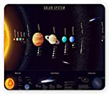 Ambesonne Outer Space Mouse Pad, Solar System Scientific Information Jupiter Saturn Universe Telescope Print, Rectangle Non-Slip Rubber Mousepad, Standard Size, Black Orange