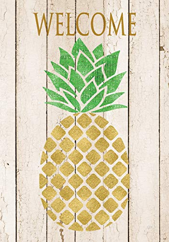 Custom Decor Farmhouse Pineapple Welcome - Standard Size, Decorative Double Sided, Licensed and Copyrighted Flag - Printed in The USA Inc. - 28 Inch X 40 Inch Approx. Size (Pineapple Welcome Decor)