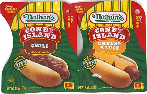 Variety Pack - Nathans Famous Coney Island Hot Dog Topping (4.5 oz) - Chili, Cheese Sauce - Chili Cheese Hot Dogs