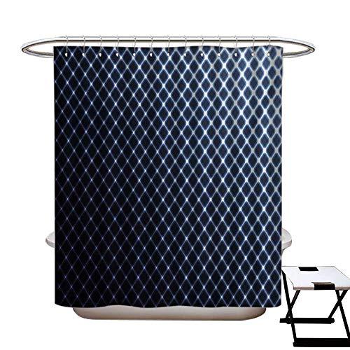 Hoop Diagonal (Dark Blue Shower Curtains 3D Digital Printing Diagonal Checkered Pattern Halftone Technology Inspired Modern Futuristic Custom Made Shower Curtain W48 x L72 Dark Blue White)