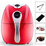 Electric Oil Free 1500W Air Fryer Multifunction Programmable Timer,Temperature Control Detachable Basket Air Fryers with receipts-Red Color